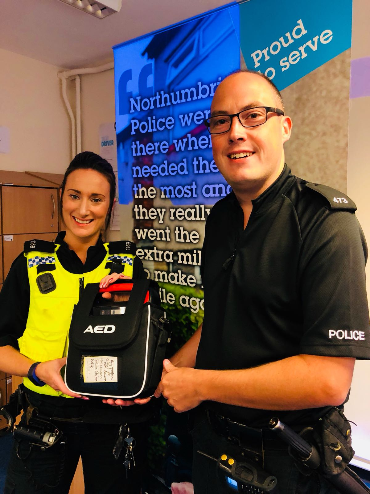 PCs Andy hyde and Emma Bowman with defib