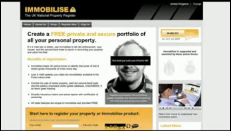 A screengrab of the immobilise website