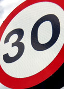 An image of a 30 speed sign